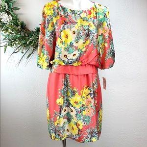 Bisou Bisou Knee-Length Floral Dress Sz 14